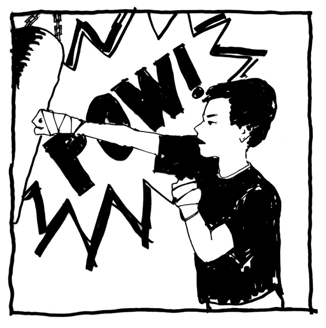 illustration of a boy punching a heavy bag.
