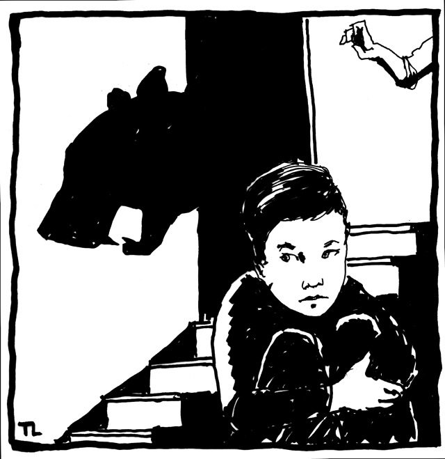 illustration of a boy holding knees to chest, and a shadow puppet on wall behind him
