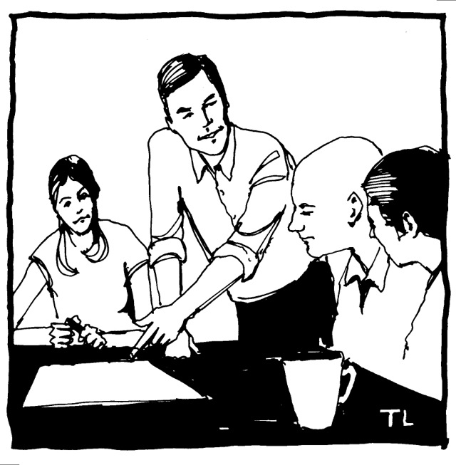 illustration of people around a meeting table, three are seated and one is standing