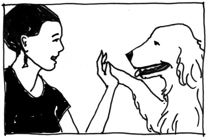 A woman high-fiving a dog