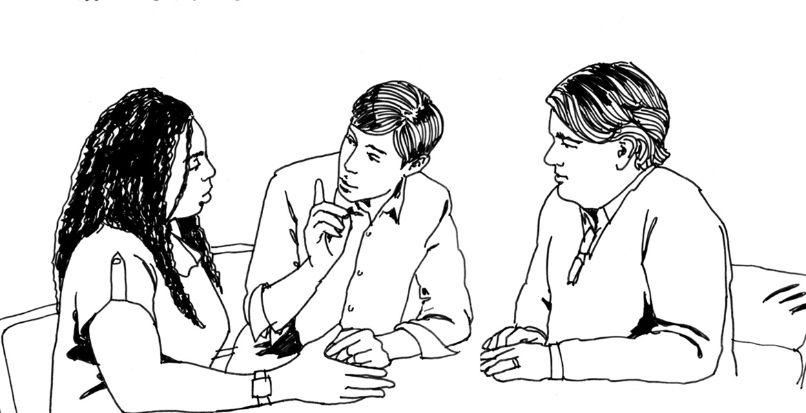 business people in conversation