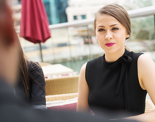 Working woman listening