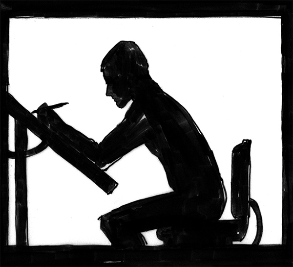 drawing of a man in profile as he works at a drafting table