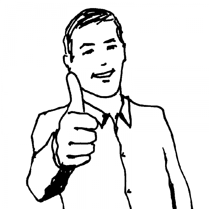 "cartoon drawing of man signaling ""thumbs up"""