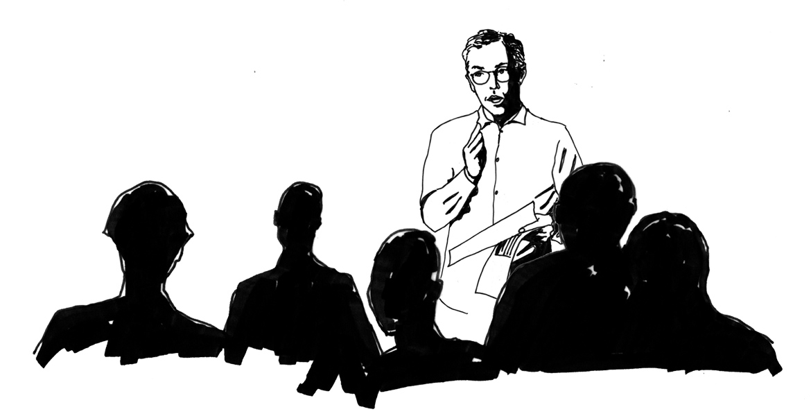 cartoon drawing of Ted speaking before an audience