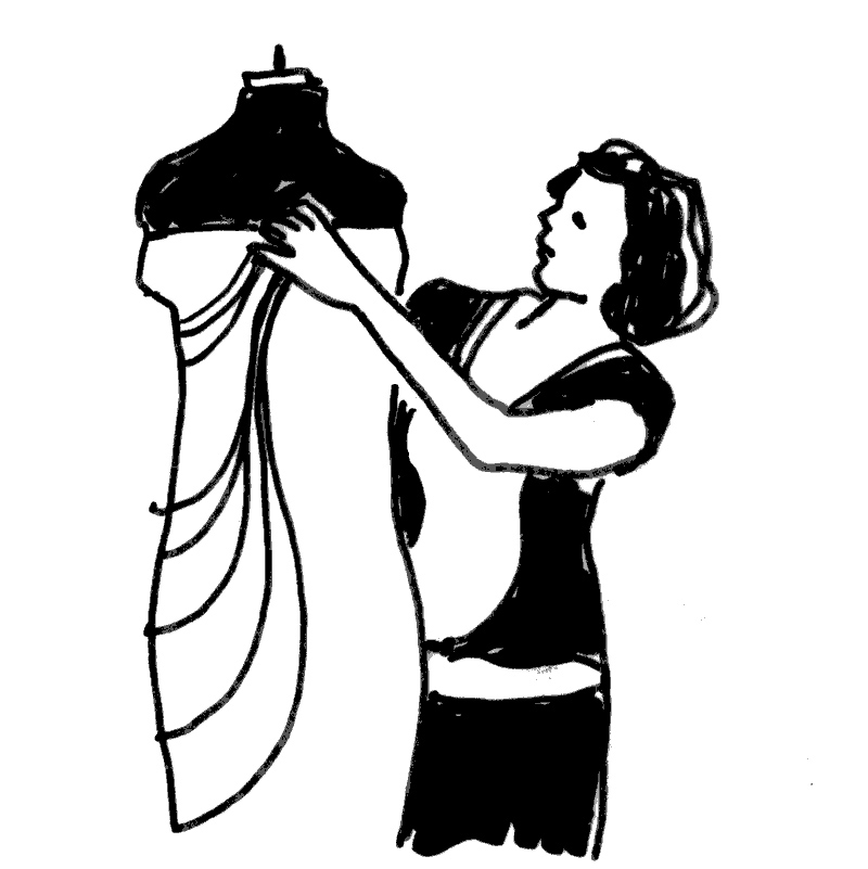 drawing of a woman draping fabric on a dress form