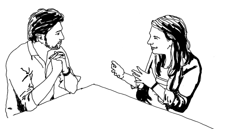 black and white drawing of a man and woman in conversation while seated at a table.