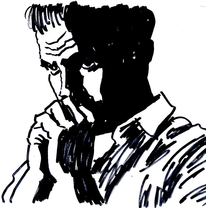 drawing of a man, his chin tucked into clasped hands.