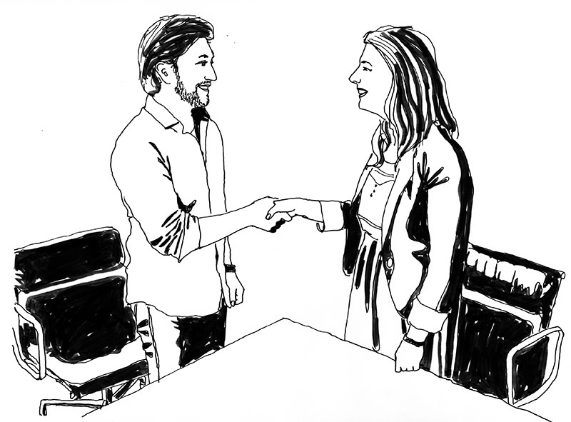 Drawing of two people shaking hands