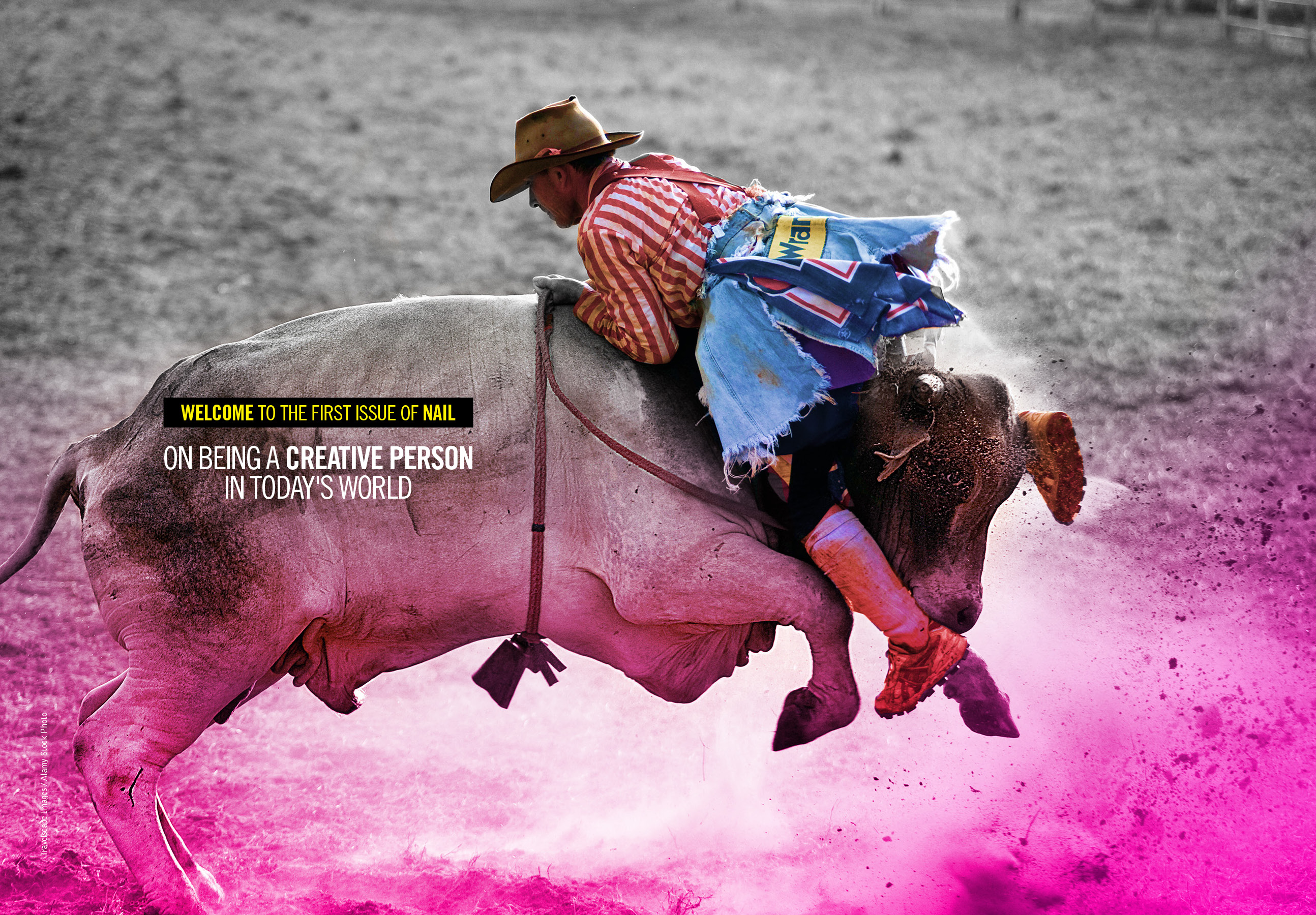 Rodeo clown on top of a bull.